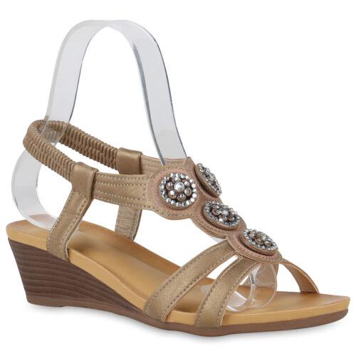 Damen Keilsandaletten Sommer Sandaletten Keilabsatz Strass 822636 Schuhe