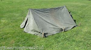 ... British-Army-2-Man-Bivvy-Canvas-Pup-Tent- & British Army 2 Man Bivvy Canvas Pup Tent Festival Camping Fishing ...
