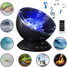 Nightlight for Kids Adults Bedroom Night Light Projector with Adjustable Brightness and Color Changing Wave Light Effects Ocean Wave Projector and Sound Machine 2 in 1 Black