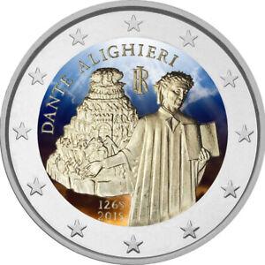 2-Euro-Gedenkmuenze-Italien-2015-coloriert-mit-Farbe-Farbmuenze-Dante
