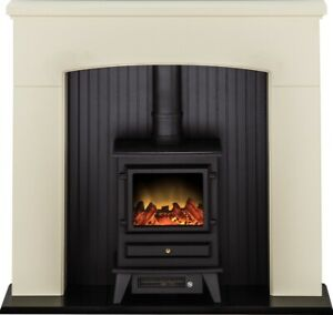 Adam Derwent Stove Suite in Cream with Hudson Electric Stove in Black, 48 Inch
