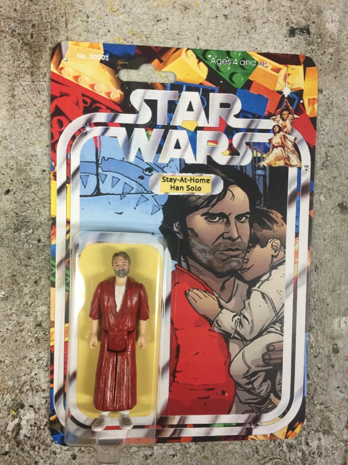 Custom Star Wars Stay at Home Han Solo Figure father Jedi Force Boba Leia