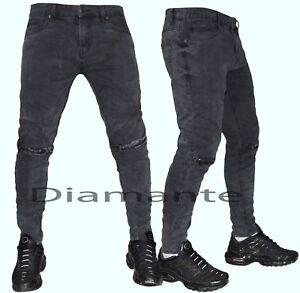 daeff1b8f1 Dettagli su Jeans uomo Denim strappati zip grigio scuro slim pantaloni  elasticizzati 78180