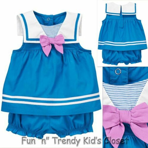 NWT Gymboree HIPPOS AND BOWS Girls Sz 0-3 Months Sailor Top /& Bloomers 2-PC SET