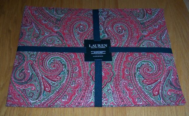 Ralph Lauren Fenton Paisley Red Set of 4 -  14 x 19 Placemats Christmas NWT