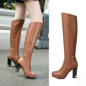Women-039-s-4-Colors-9cm-High-Heel-Knee-High-Thigh-Riding-Boots-Party-Casual-Shoes