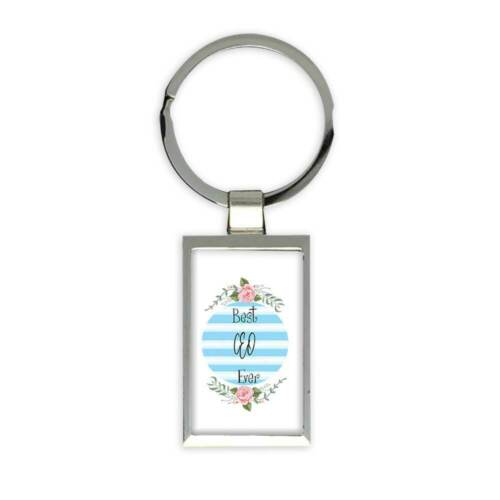 Gift Keychain Christmas Cute Birthday Stripes Blue Best CEO Ever