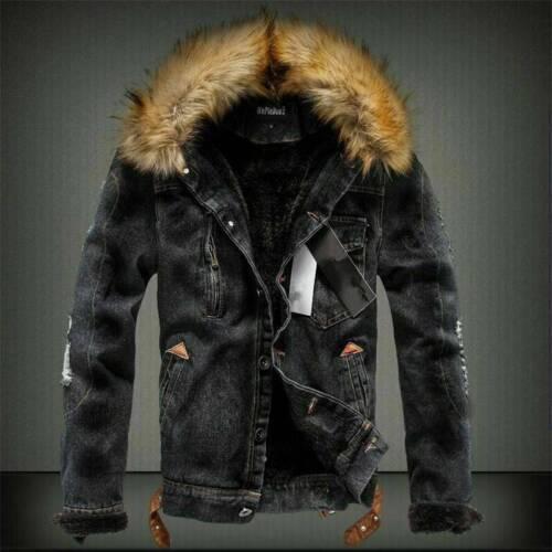 Jacket Fleece Warm Fur Men/'s Winter Collar Denim Thick Padded Coat Outwear