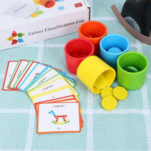 Kids Wooden Color Classification Matching Cup Early Educational Toys Xmas Gift