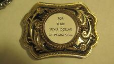 Vintage NOS squared Gold & black Belt Buckle blank with 39mm round bezel mount