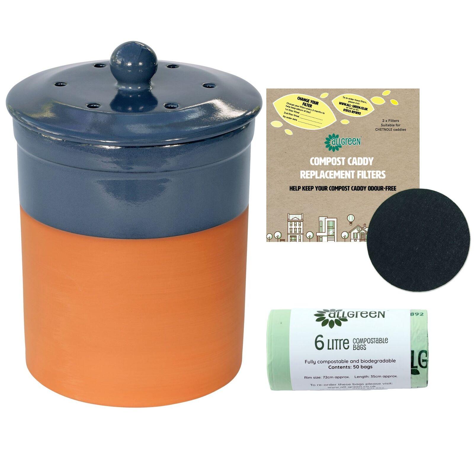 Chetnole Terracotta Ceramic Caddy-Blau-2xFilters&50x6L Compostable Bags