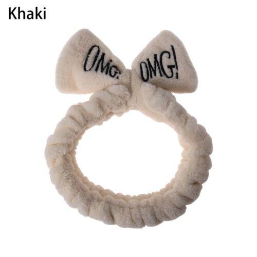 Women Bow Hairband OMG Letters Wash Face Headband Soft Coral Fleece Hairbands~