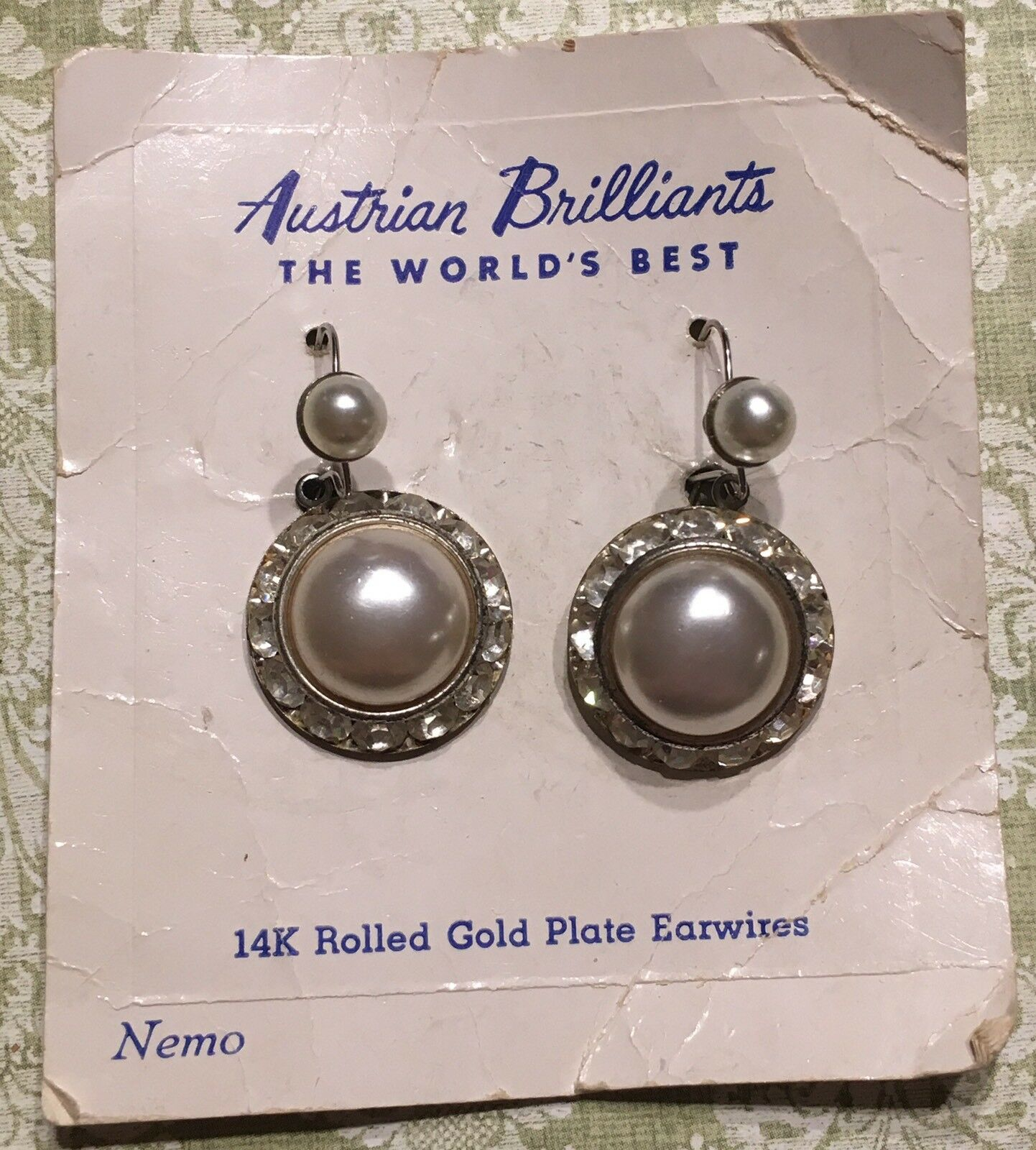 Vtg Nemo Austrian Brilliant Crystal Faux Pearl Pierced Earrings-Estate