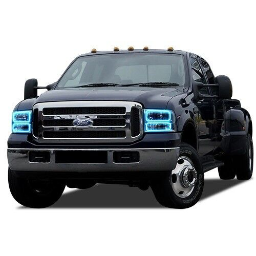 RGB Multi-Color LED Halo Ring Headlight Kit for Ford F-250  05-07 IR Remote