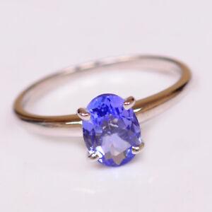 1-40Ct-585er-Weissgold-100-natuerliche-blaue-Tansanit-ovale-Form-Verlobungsring