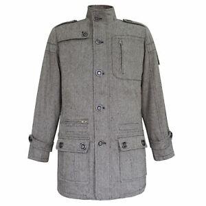 Lee-Cooper-Wool-Coat-Mens-Gents-Mac-Trench-Top-Jacket-Funnel-Neck-Zip-Zipped