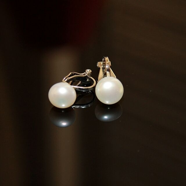 Earrings Silver Cultured White Fresh Water Pearls Clips on Fashionable Beautiful