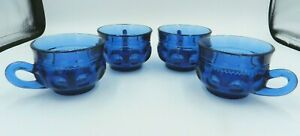 Tiara-Indiana-Glass-Imperial-Blue-Crown-Coffee-Cups-6-oz-Set-of-4-Vintage