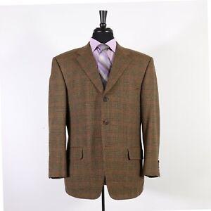 Samuelsohn 43S Brown Check Wool Three Button Sport Coat Blazer Jacket