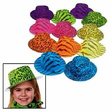 12 Pack Neon Animal Print Gangster Hats Colorful Party Supplies Costumes Assorte