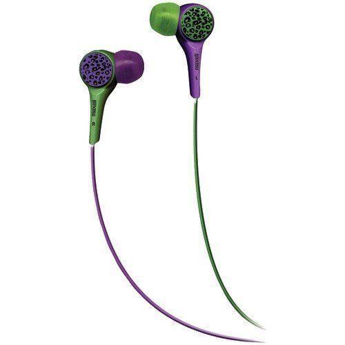 New Maxell Purple Green Earbuds In-Ear Headphones Leopard Li