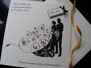 Luxury-Personalised-Handmade-Wedding-Card-Bride-amp-Groom-Silhouette-see-options