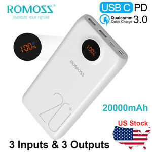 ROMOSS-SW20-20000mAh-Type-C-PD-Portable-Charger-3-Outputs-amp-3-Inputs-for-iPhone