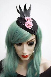 Image is loading Black-20s-Style-teardrop-Fascinator -Flowers-Rockabilly-Bridal- 4ca210173f6