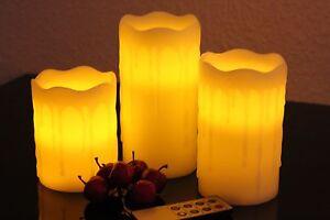 3-Flammenlose-LED-Kerzen-Fernbedienung-Dimmbar-Timer-Echtwachs-Weihnacht-weiss