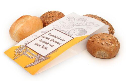 1000 Bäckerbeutel Neutralmotiv weiß 14+6x32cm 423 Faltenbeutel Papiertüten