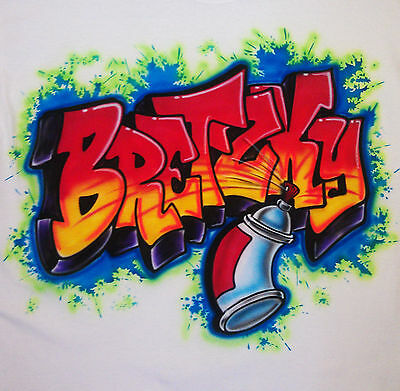 b33ba3523 Airbrushed Custom Graffiti Spray Can Name T-shirt Bodysuit Hoodie Pillowcase