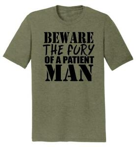 Mens-Beware-Fury-Of-Patient-Man-Tri-Blend-Tee-Anger-Quotes