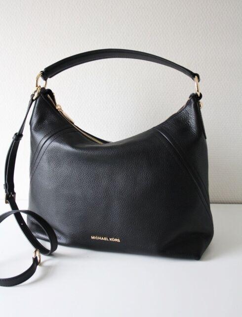 902cbff33e6b31 Michael Kors Aria Pebbled Leather MD TZ Shoulder Hobo Bag Black W ...