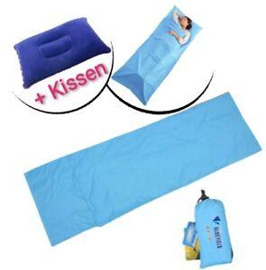 Schlafsack-mit-Luftkissen-215x65cm-Huettenschlafsack-Mini-und-Leicht-300g-Blau