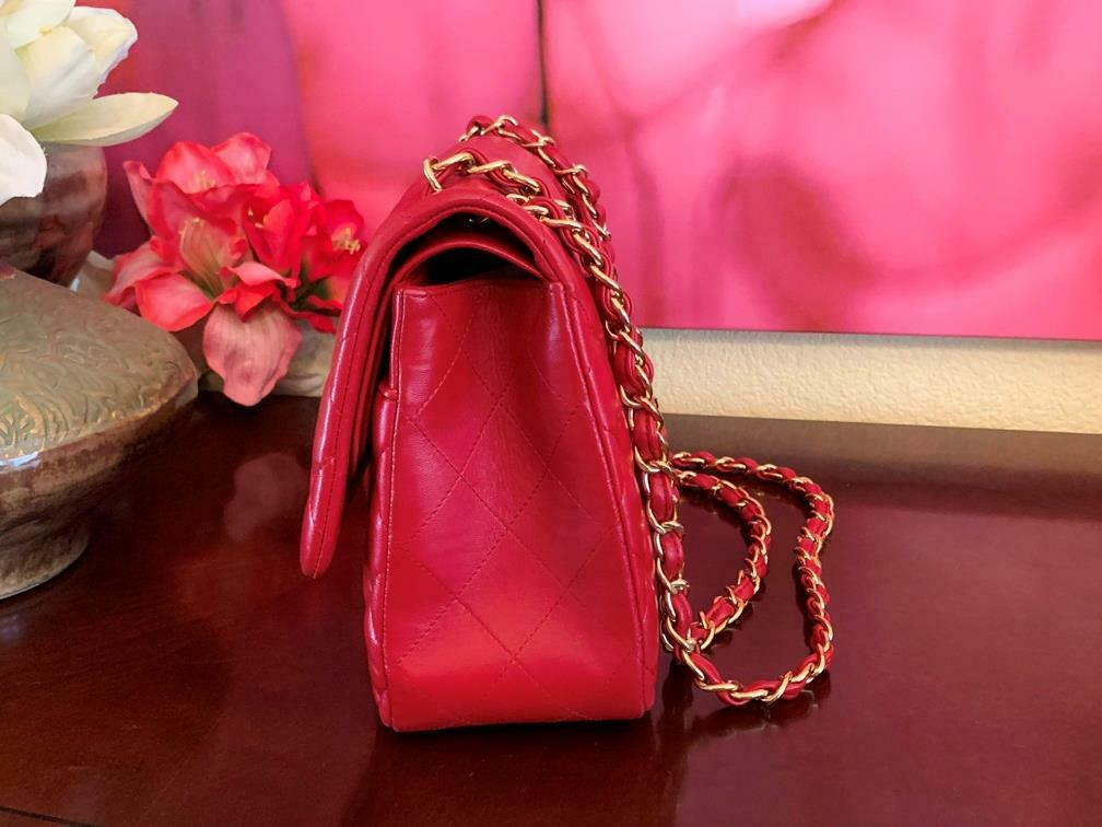 Authentic Chanel Classic Jumbo Red Lambskin Doubl… - image 4