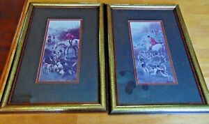Vintage-Whitehead-Equestrian-Amercan-Fox-Hounds-Fox-Hunting-Art-Prints-Framed