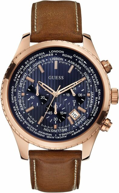 Guess Uomo Orologio Watch Man Uhr Pursuit W0500G1 Crono Blu Pelle Marrone Rame