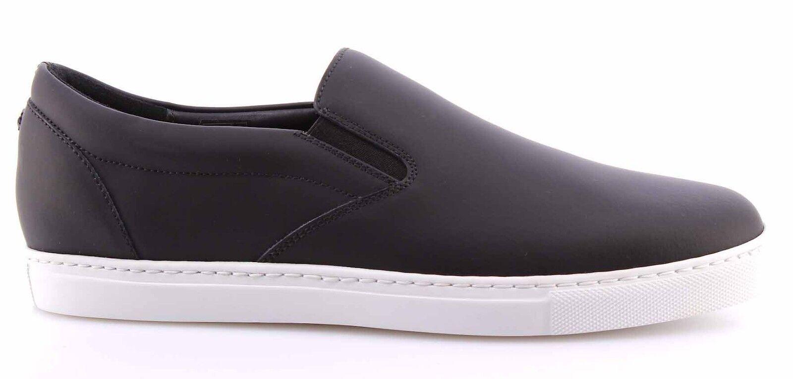 Herren Sneakers Schuhe DSQUARED Slip On Pop Tux Tux Tux Vit Gommato Nero Leder Schwarz 30e00e