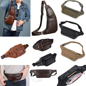 New-Men-Genuine-Leather-Cowhide-Hip-Belt-Fanny-Pack-Waist-Purse-Sling-Chest-Bags