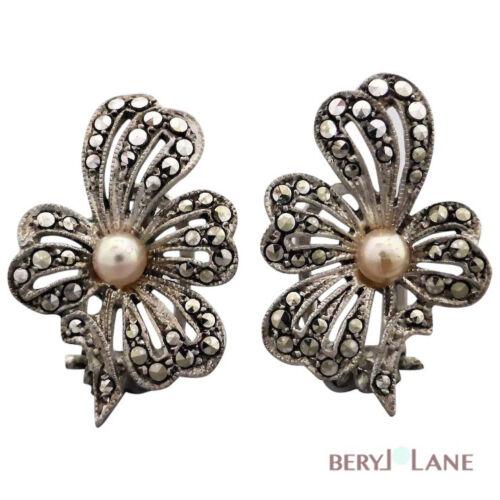 Vintage Sterling Silver Marcasite Pearl Flower Stud Earrings