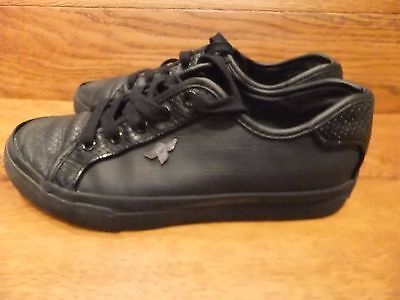 Creative Recreation Kaplan Negro Cuero Casuales Zapatillas Size UK 6 EU 40