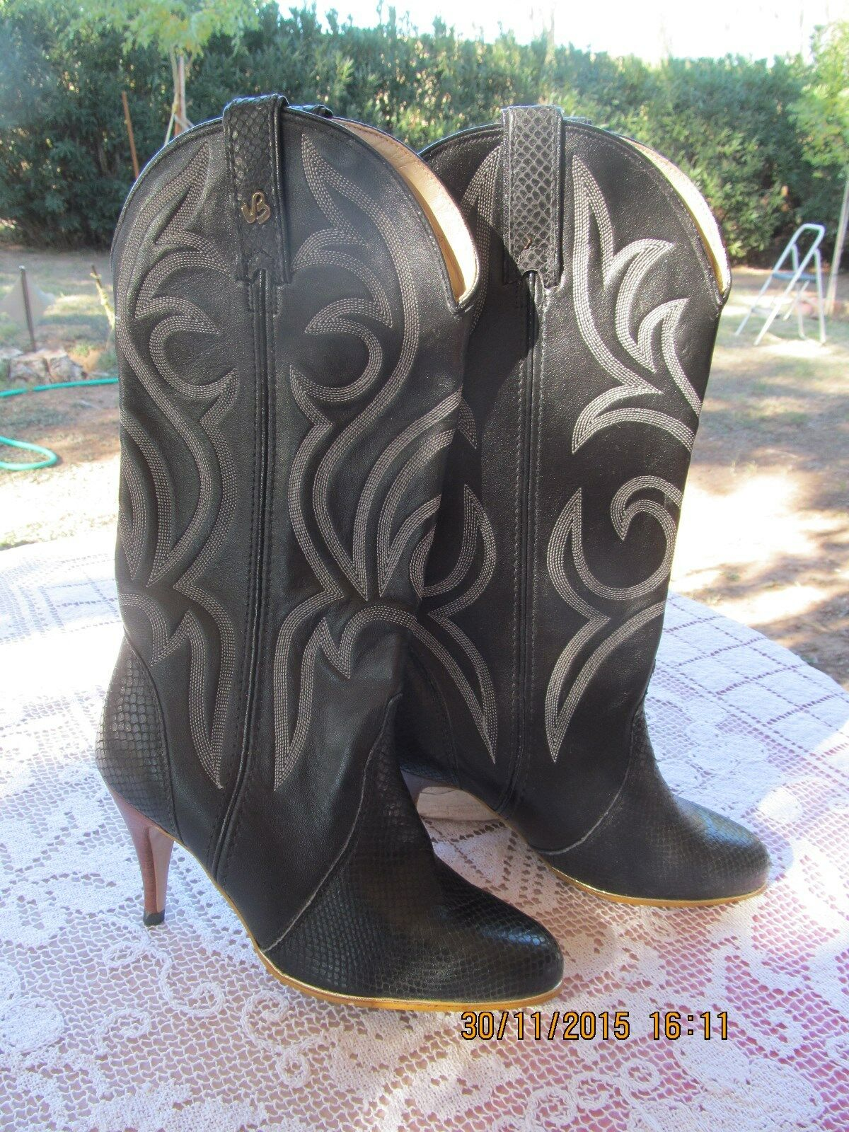 Damens's M VINTAGE JEENZ BOOTZ Stiefel COWBOY BLACK LEATHER 7.5 M Damens's USA WESTERN 3 1/2
