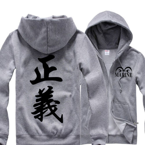 Fashion Anime One Piece Marine Justice 正義 Hoodie Sweatshirt Cotton Cosplay Coat