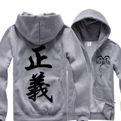 Fashion Anime One Piece Marine Justice 正義 Hoodie Sweatshirt Cotton Cosplay Coat