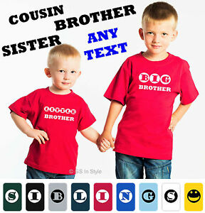 enfants-frere-T-shirt-100-coton-grand-petit-frere-Sister-Trouble-ou-votre-texte