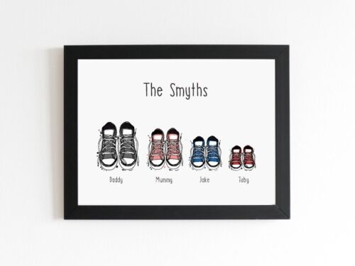 Personalised Family Sneaker Print House Warming Moving New Home Gift Any Names