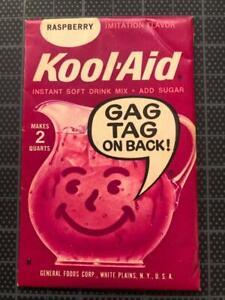 VINTAGE 1960's KOOL-AID FULL PACK Sealed Mip RASPBERRY FLAVOR old stock GAG TAG
