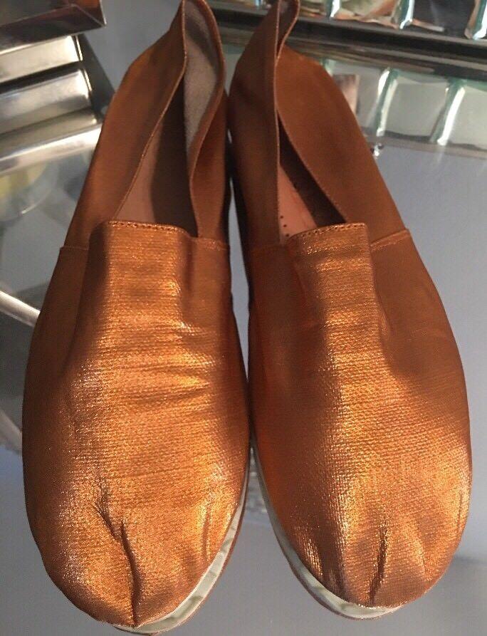 MAISON MARTIN MARGIELA MM6 Metallic Gold Slip On Shoes Espadrilles 40 US 9.5 M