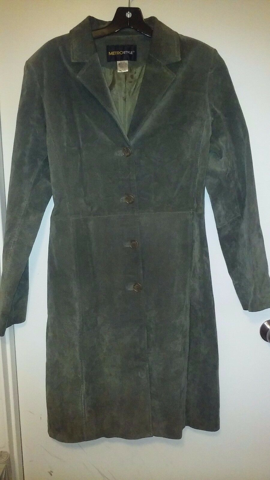 Suede Leather MetroStyle Olive Olive Olive Green Women's Size 8T coat 6c4565