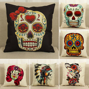 Image Is Loading US Sugar Skull Cotton Linen Cushion Cover Waist